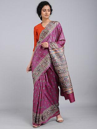 Purple-Black Printed Tussar Silk Saree