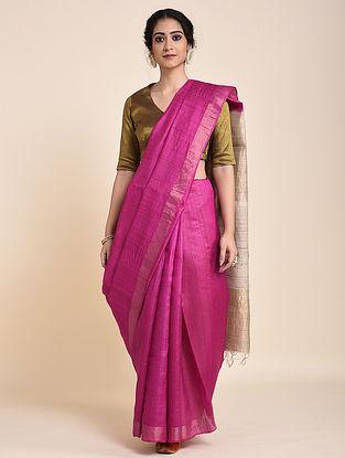 Pink-Beige Handloom Tussar Silk Saree