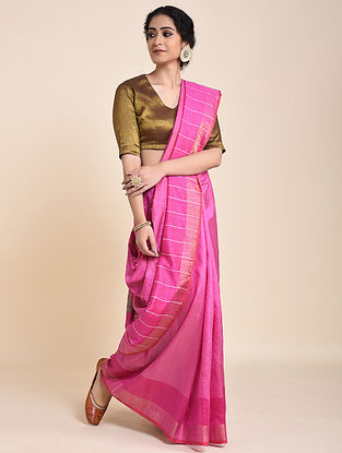 Pink Handloom Tussar Silk Saree with Zari