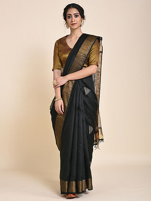 Black-Ivory Handloom Tussar Silk Saree with Zari