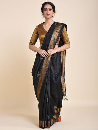 Black Handloom Tussar Silk Saree with Zari