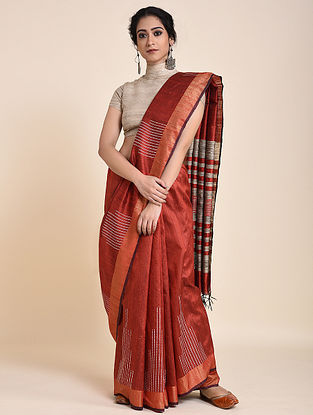 Red Handloom Tussar Silk Saree