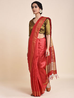 Red Handloom Tussar Silk Saree with Zari