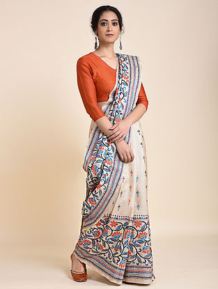 Ivory Handloom Tussar Silk Saree with Kantha Embroidery