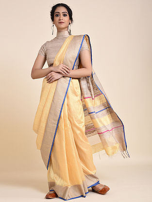 Yellow-Beige Handloom Tussar Silk Saree