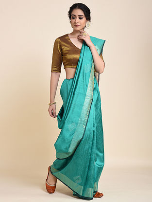 Green Handloom Tussar Silk Saree
