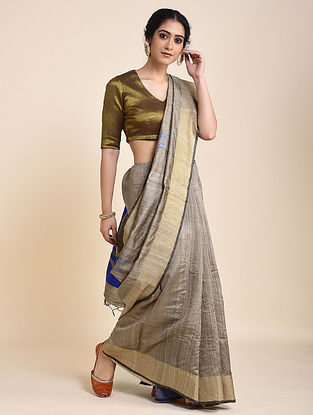 Grey Handloom Tussar Silk Saree