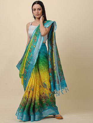 Turquoise Printed Linen Saree