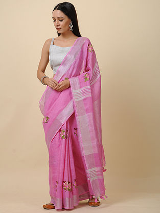 Pink Embroidered Linen Saree