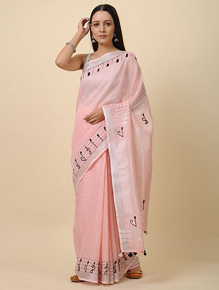 Pink-Black Embroidered Linen Saree