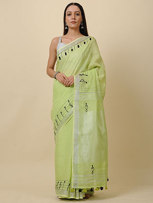 Green-Black Embroidered Linen Saree