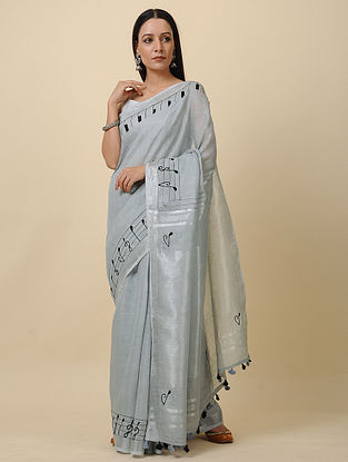 Grey Embroidered Linen Saree