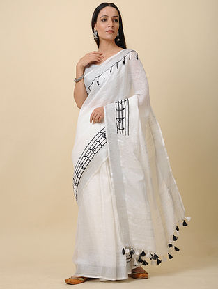 Off White Embroidered Linen Saree