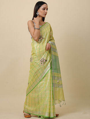 Yellow Embroidered Linen Saree with Zari