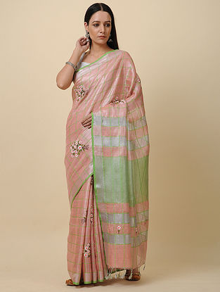 Peach Embroidered Linen Saree with Zari