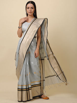 Grey Linen Saree with Zari