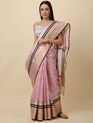 Pink Linen Saree with Zari