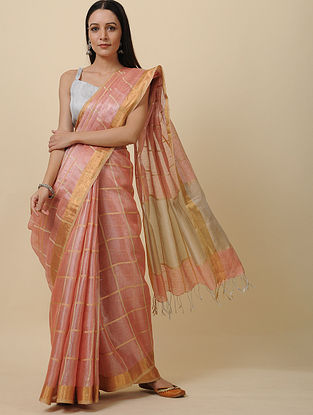 Peach Linen Saree with Zari