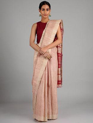 Ivory-Red Ghicha Tussar Silk Saree with Zari