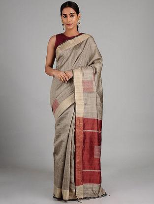 Grey-Red Tussar Silk Saree with Zari