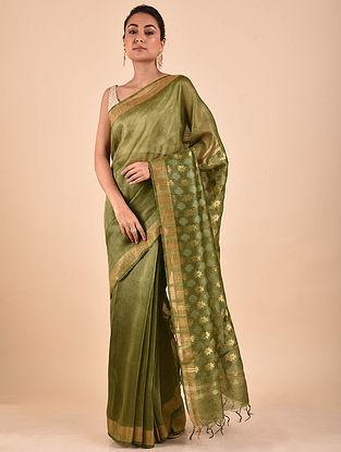 Green Handwoven Silk Linen Saree