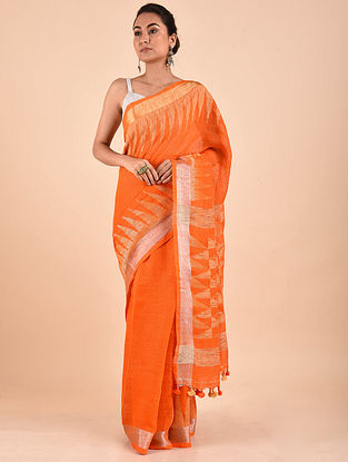 Orange Handwoven Jamdani Linen Saree