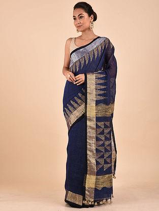 Blue-Golden Handwoven Jamdani Linen Saree