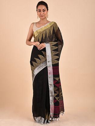 Black Handwoven Jamdani Linen Saree