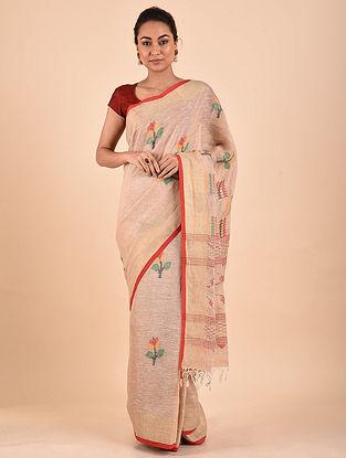 Beige Handwoven Jamdani Linen Saree