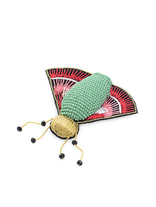 Green-Pink Rosie Bug Fabric Brooch