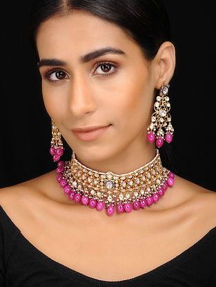 Ruby Gold Tone Kundan Inspired Necklace With A Pair Of Earrings(Set Of 2)