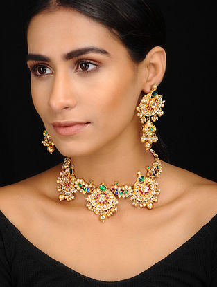 Multicolored Gold Tone Kundan Inspired Necklace With A Pair Of Earrings(Set of 2)
