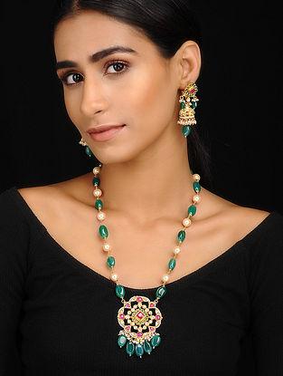 Multicolored Gold Tone Kundan Inspired Pendant Necklace