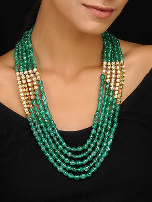 Green Gold Tone Kundan Inspired Layered Necklace