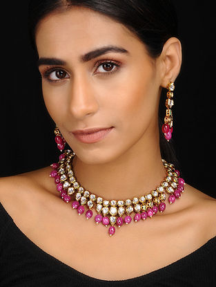 Pink Gold Tone Kundan Inspired Kundan Necklace With A Pair Of Earrings(Set of 2)