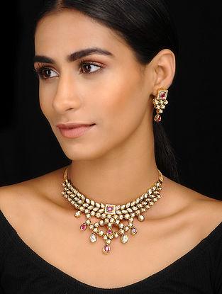 Pink Gold Tone Kundan Inspired Kundan Choker With A Pair Of Earrings(Set of 2)