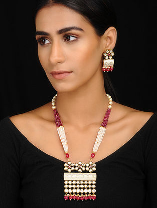 Pink-White Kundan Inspired Pearl Beaded Necklace With A Pair Of Earrings(Set of 2)