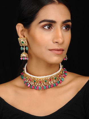 Multicolored Gold Tone Jadau Choker Necklace With A Pair Of Earrings(Set of 2)
