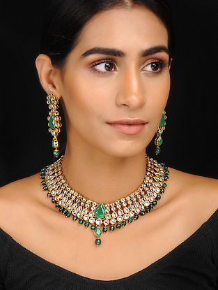 Green Gold Tone Kundan Inspired Necklace With A Pair Of Earrings(Set of 2)