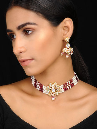 Red Kundan Inspired Pearl Beaded Necklace With A Pair Of Earrings(Set of 2)