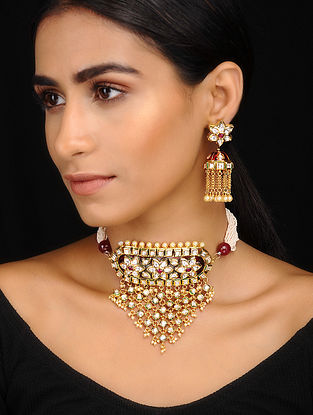 Red Kundan Inspired Necklace With A Pair Of Earrings(Set of 2)