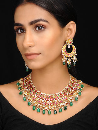 Green-Pink Kundan Inspired Necklace With A Pair Of Earrings(Set of 2)