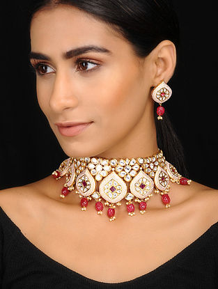 Pink-Red Kundan Inspired Meenakari Necklace With A Pair Of Earrings(Set of 2)