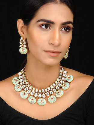 Mint Kundan Inspired Meenakari Necklace With A Pair Of Earrings(Set of 2)