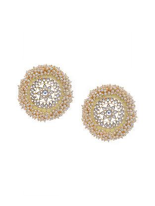 Yellow Gold Tone Kundan Inspired Earrings