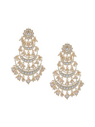 Gold Tone Kundan Inspired Pearl Beaded Chandbali Earrings