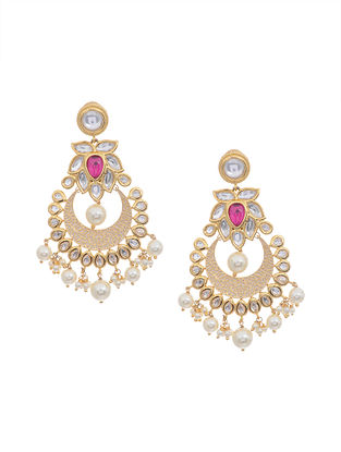 Ivory Gold Tone Kundan Inspired Chandbali Earrings