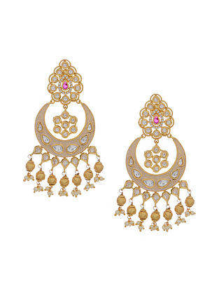 Ivory Gold Tone Kundan Inspired Chandbali Earrings
