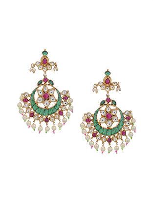 Pink-Green Gold Tone Kundan Inspired Chandbali Earrings