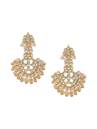 Gold Tone Kundan Inspired Chandbali Earrings